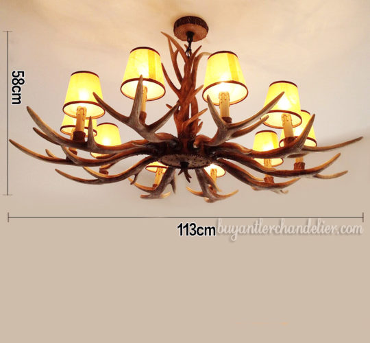Classic Elk Antler Chandelier 10 Candelabra Ceiling Lights Rustic Lighting Fixtures Home Decor With Lamp Shades 44