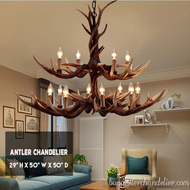 12 Cast Antler Chandelier Two-Tiered Cascade 8 + 4 Ceiling