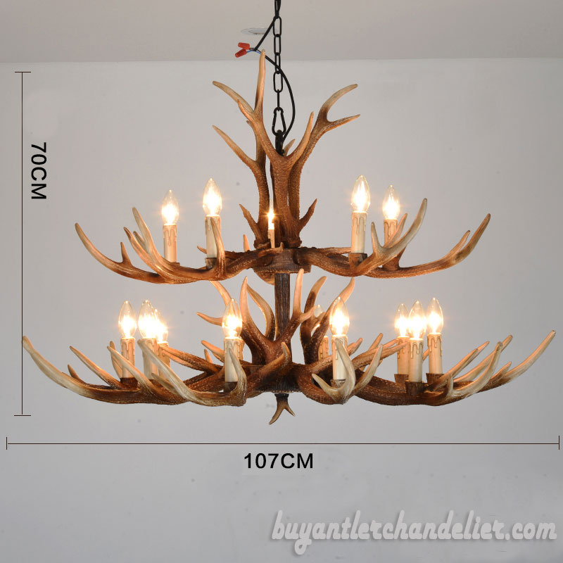 Discount Lighting Store: 15 Cast Antler Chandelier Double Tiers Cascade Ceiling