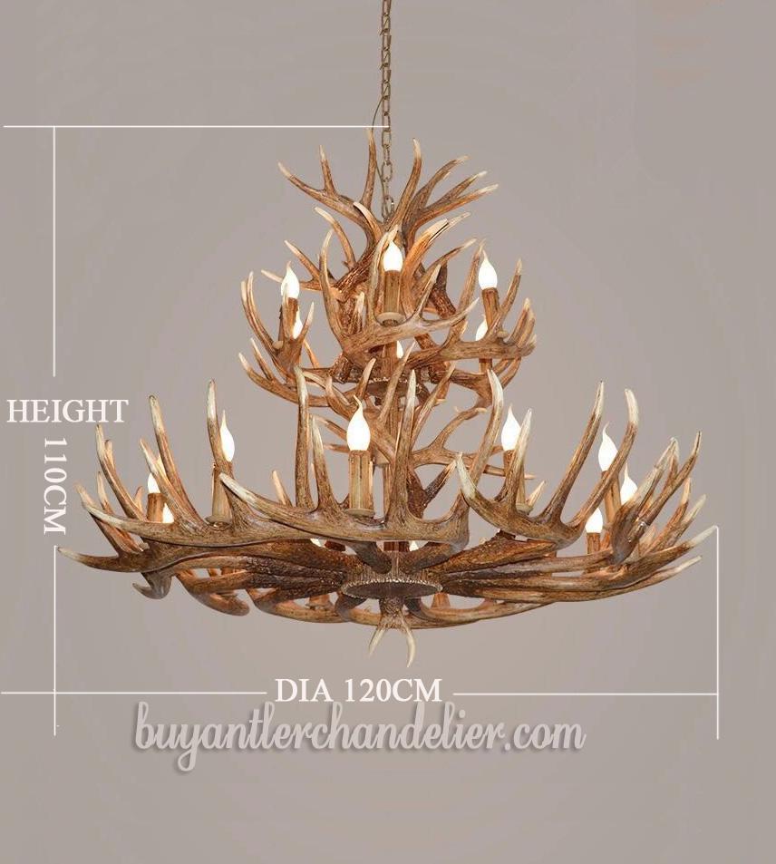 Antique 12 6 18 cast deer antler chandeliers two tiers cascade candelabra pendant lights rustic