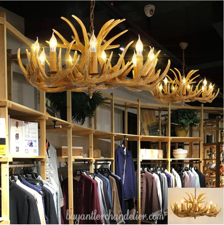 Antique 9 3 Cast Deer Antler Chandeliers Nine Candelabra Hanging Lights Rustic Lighting Fixtures For